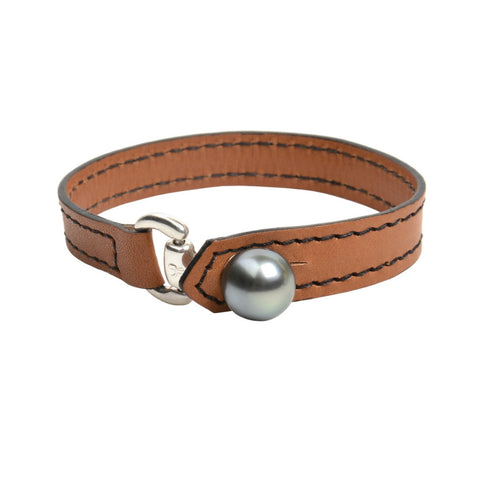Mens Equestrian Bracelet - Hottest Designer Pearl and Leather Jewelry | VINCENT PEACH