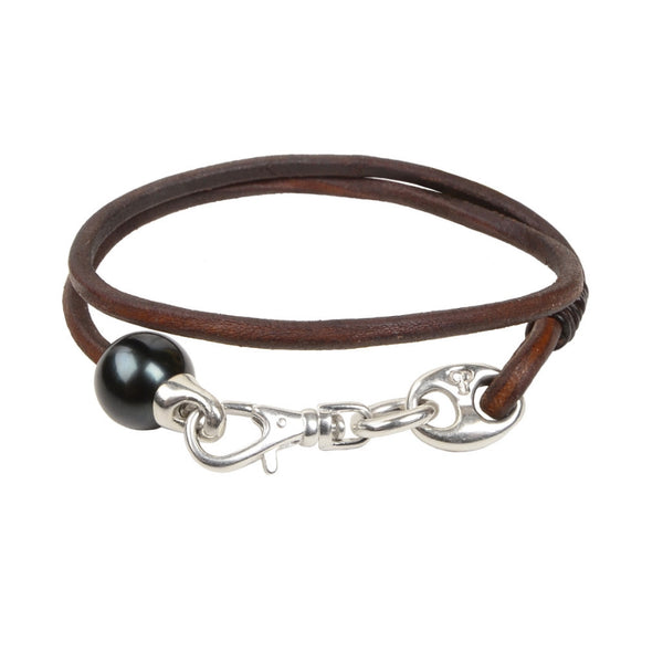 Mens Marina Bracelet - Hottest Designer Pearl and Leather Jewelry | VINCENT PEACH