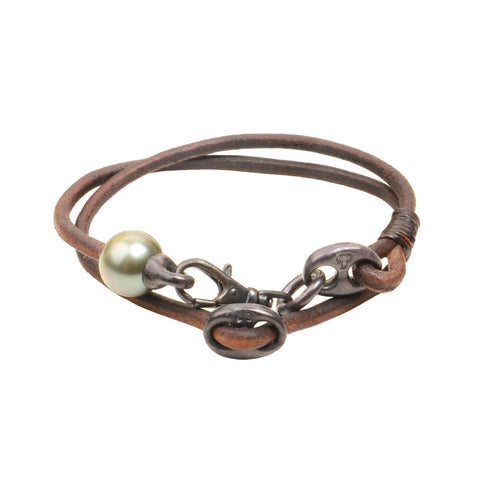 Mens Marina Bracelet, Oxidized - Hottest Designer Pearl and Leather Jewelry | VINCENT PEACH