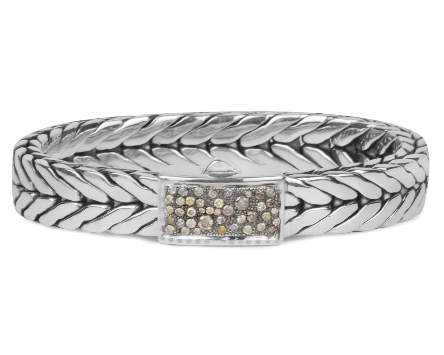 Mens Woven Silver Bracelet, 1/4 Inch – Designer Pearl and Leather ...