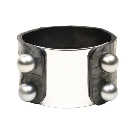 Nashville Cuff - Hottest Designer Pearl and Leather Jewelry | VINCENT PEACH  - 1