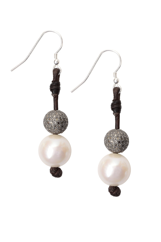 Diamond Seaplicity Earrings - Hottest Designer Pearl and Leather Jewelry | VINCENT PEACH