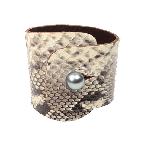 Safari Python Cuff - Hottest Designer Pearl and Leather Jewelry | VINCENT PEACH