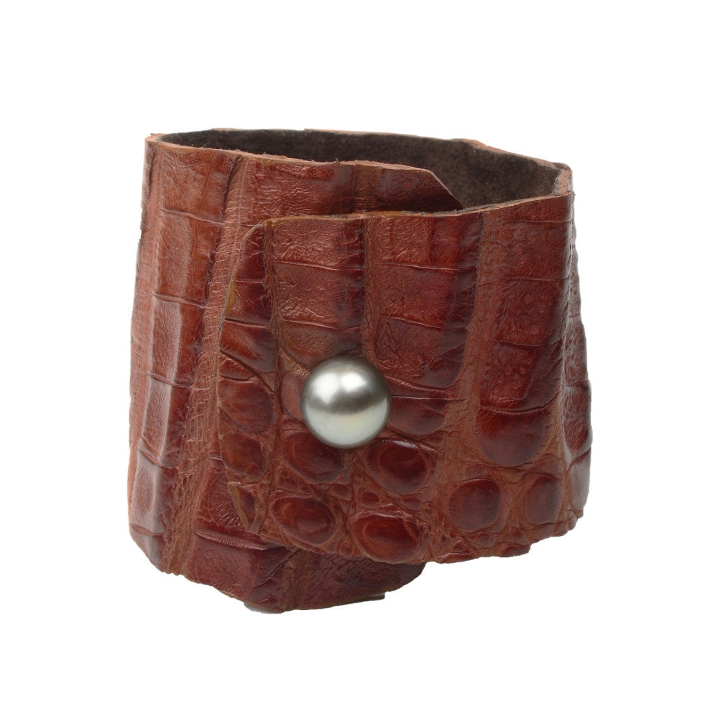 Safari Croc Cuff - Hottest Designer Pearl and Leather Jewelry | VINCENT PEACH