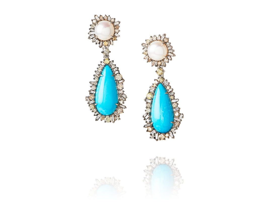 3.22ct Diamond Blue Opal Earrings