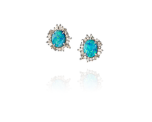 Boulder Opal Post Earrings with episodic diamonds