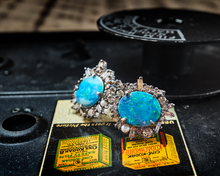Boulder Opal Post Earrings with 1ct Episodic Diamonds