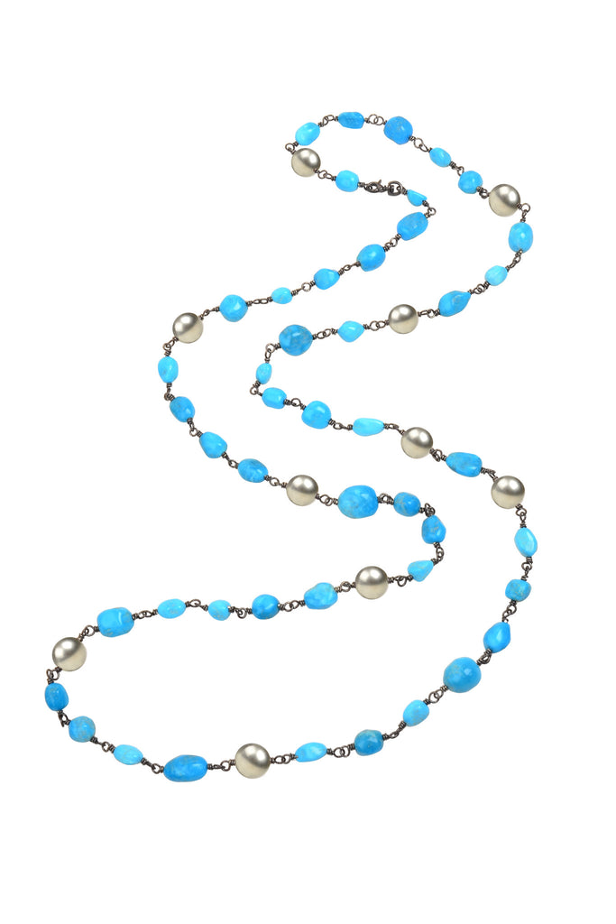 Opulent Turquoise Necklace - Hottest Designer Pearl and Leather Jewelry | VINCENT PEACH  - 2