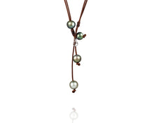 Four Pearls in a Pod, Tahitian Pearls - 17 inch Leather and Pearl necklace