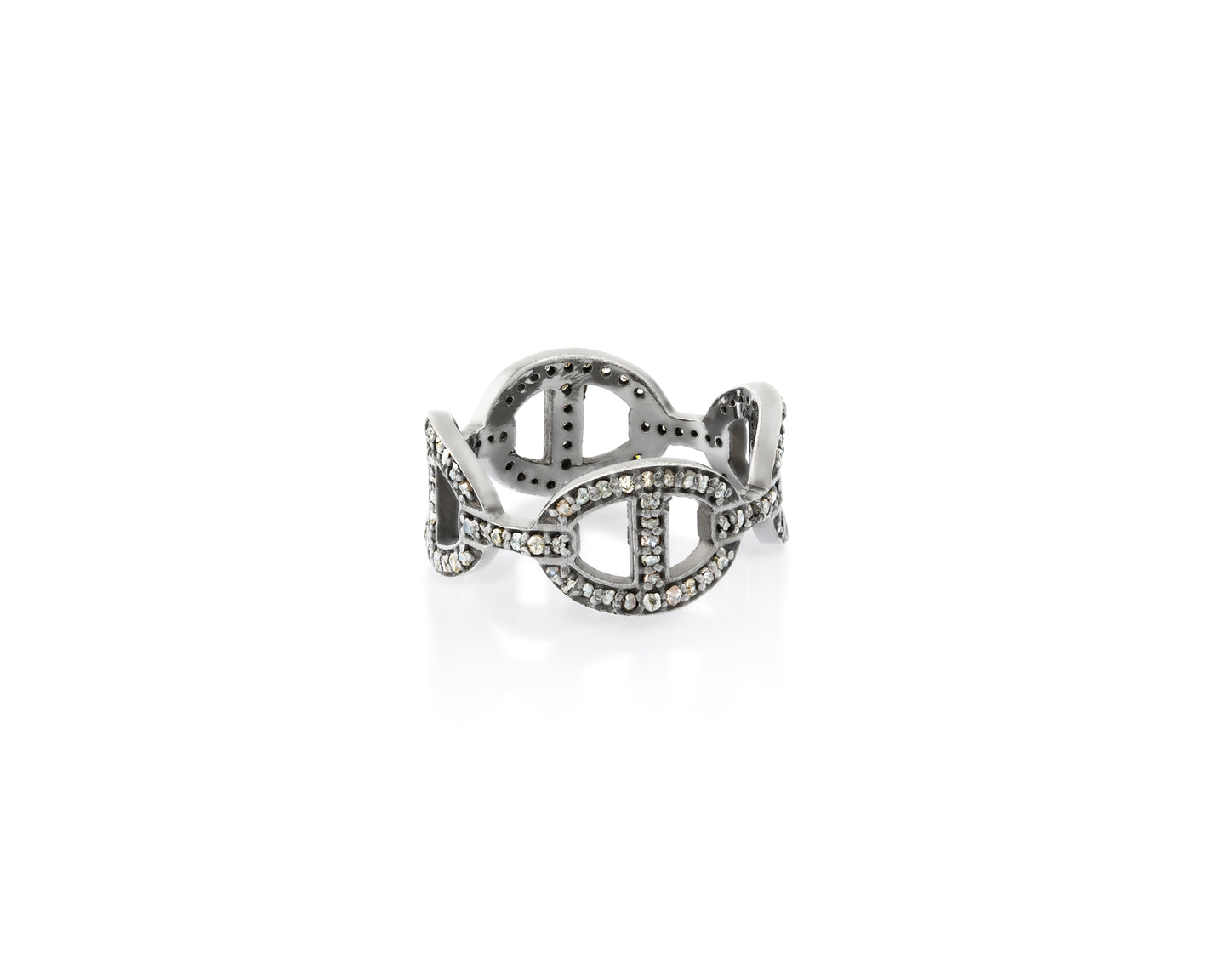 .6ct Anchor Chain Pavé Ring, Rhodium Plated Sterling Silver