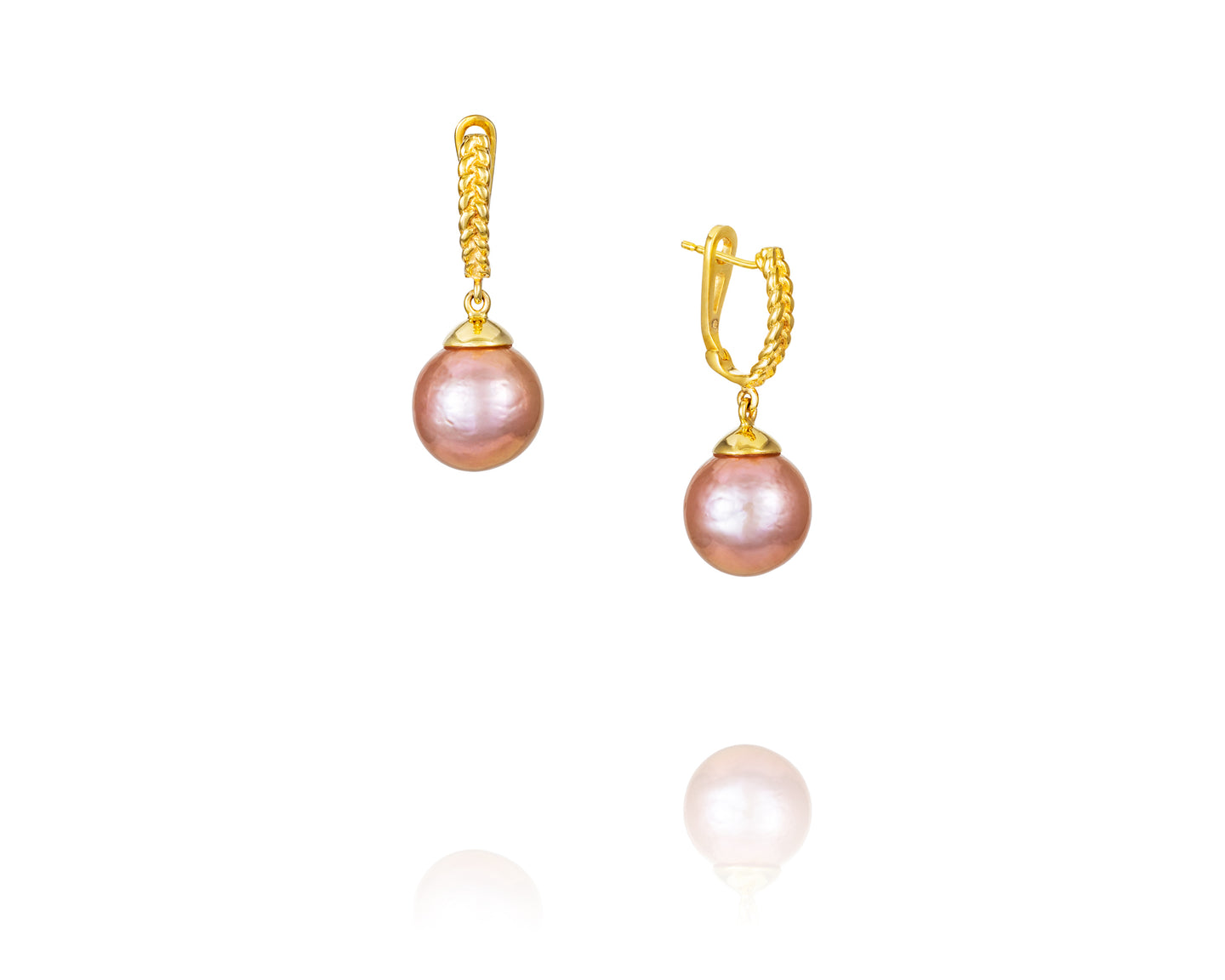 14kt Gold Drop Pink Pearl Earrings