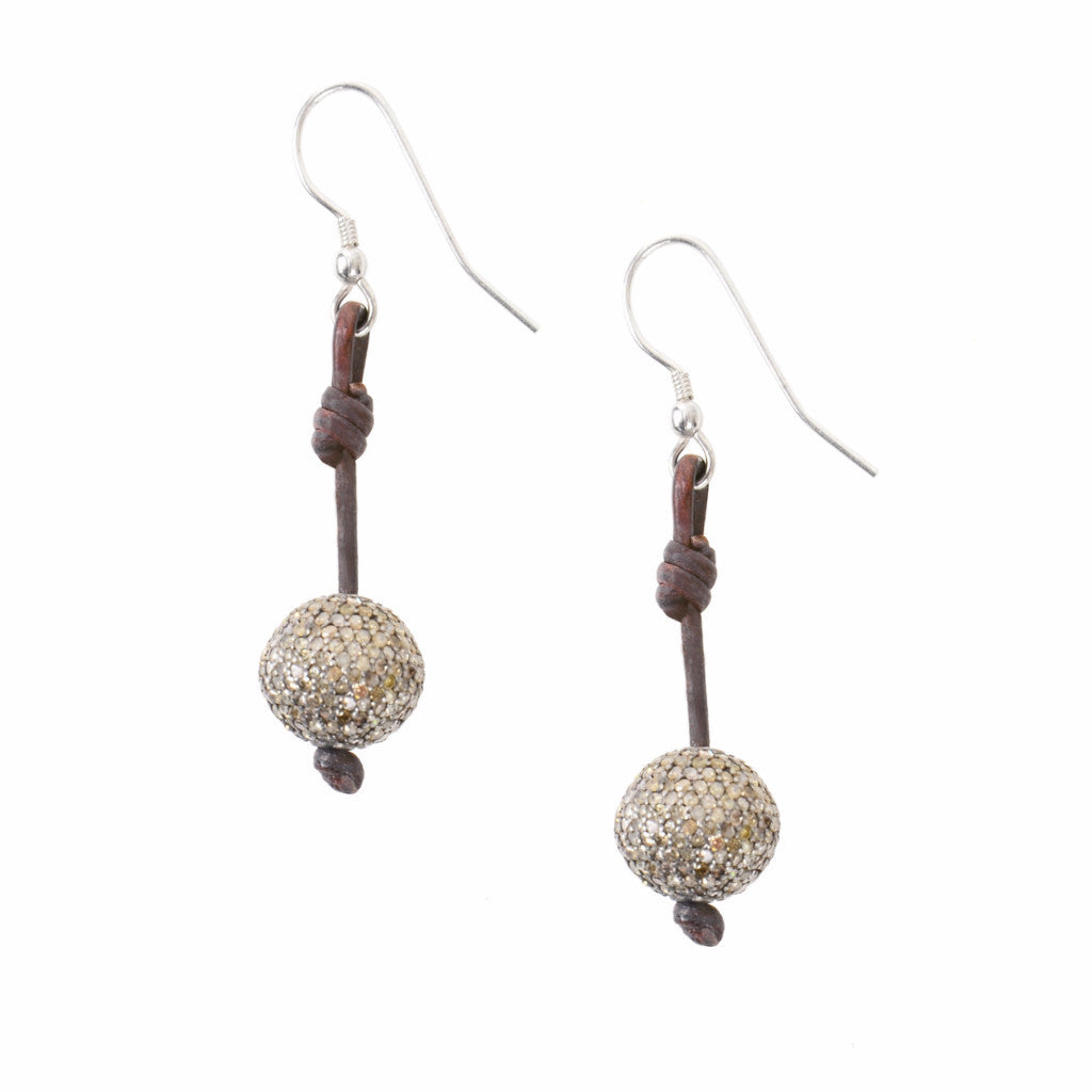 Pave Seaplicity Earrings - Hottest Designer Pearl and Leather Jewelry | VINCENT PEACH  - 1