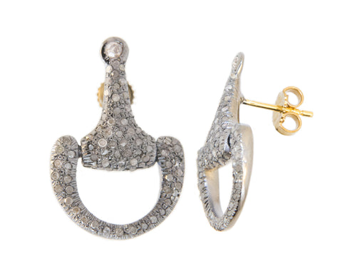 Pave Horse Bit Earrings