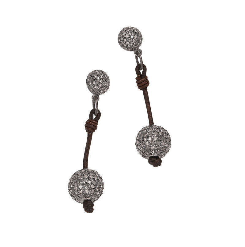 Signature Post Earrings, Pavé - Hottest Designer Pearl and Leather Jewelry | VINCENT PEACH