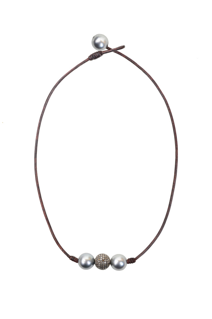 Pavé in a Pod Choker - Hottest Designer Pearl and Leather Jewelry | VINCENT PEACH  - 2