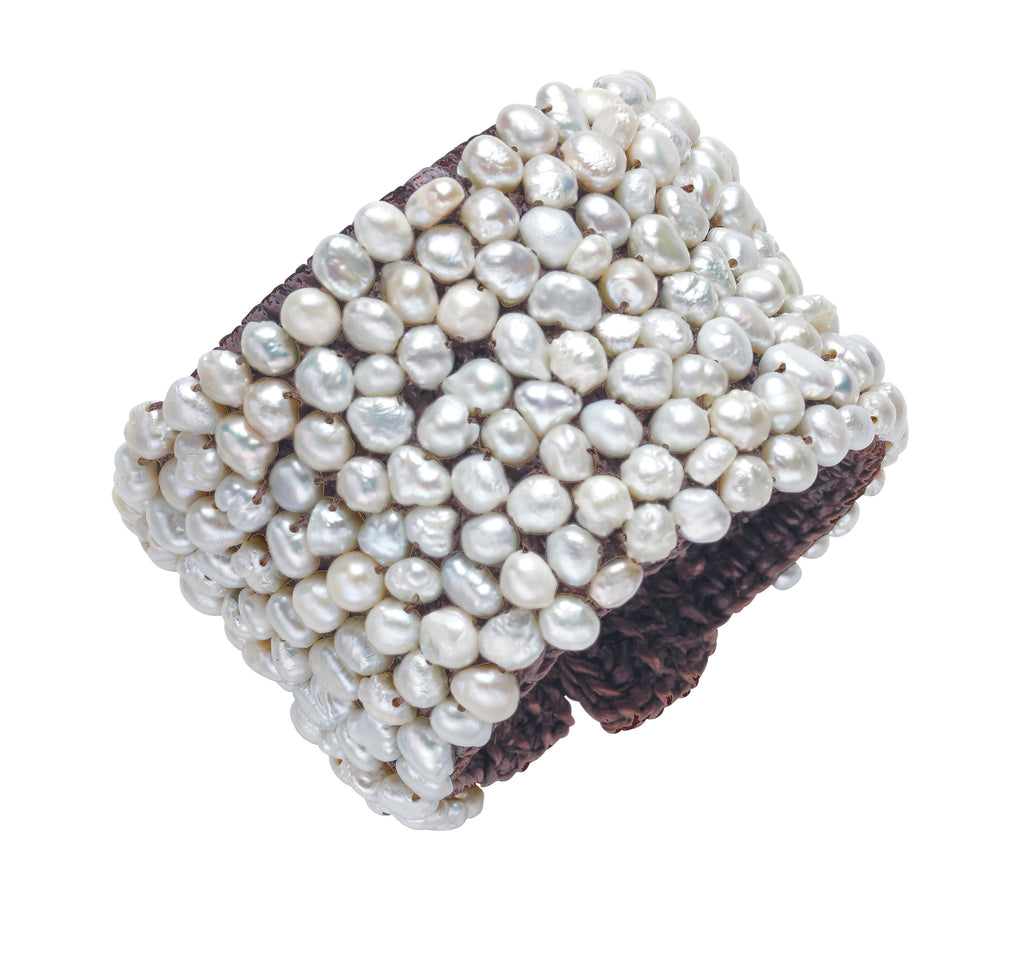 Pebble Cuff - Hottest Designer Pearl and Leather Jewelry | VINCENT PEACH  - 2