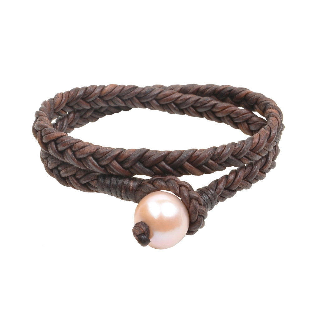 Pink Double Wrap Flat Braid Bracelet - Hottest Designer Pearl and Leather Jewelry | VINCENT PEACH