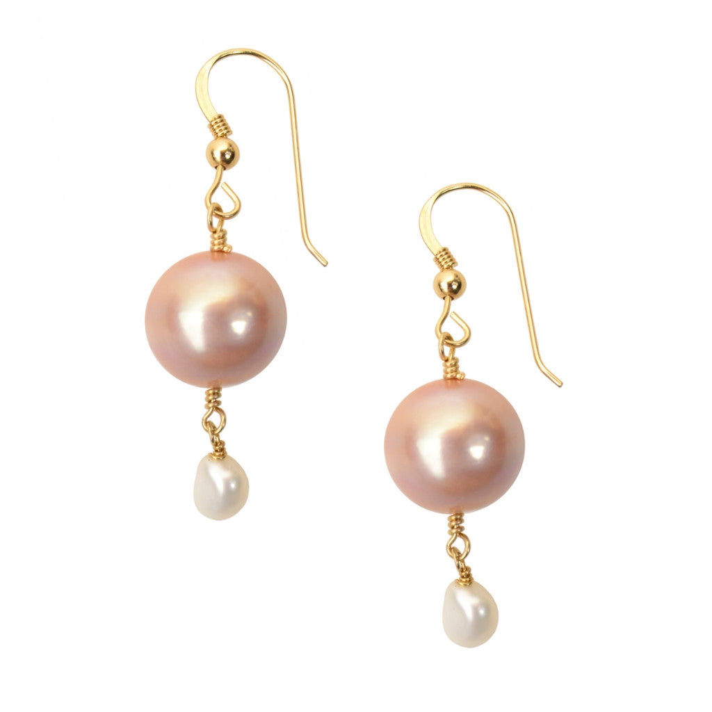 Pink Pearl Drop Earrings - Hottest Designer Pearl and Leather Jewelry | VINCENT PEACH