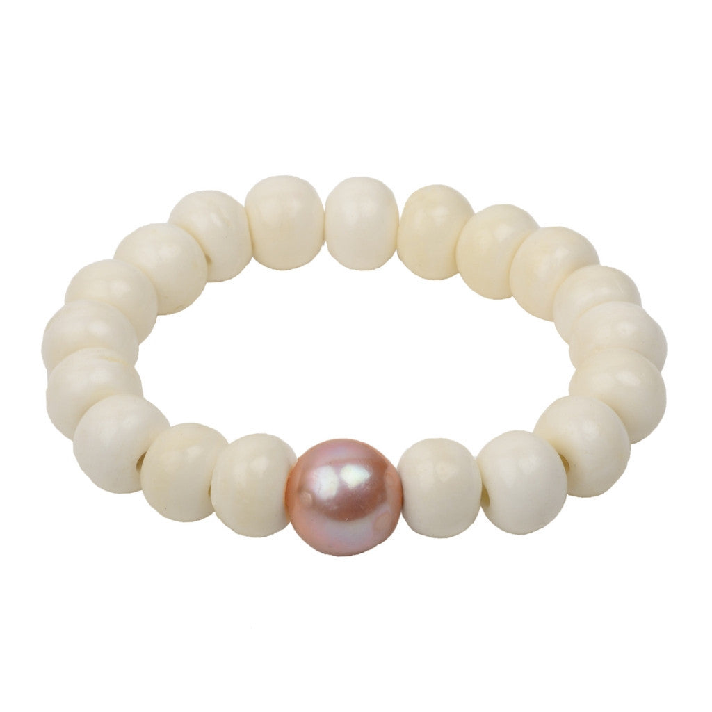 Pink Pearl Stretch Bracelet - Hottest Designer Pearl and Leather Jewelry | VINCENT PEACH