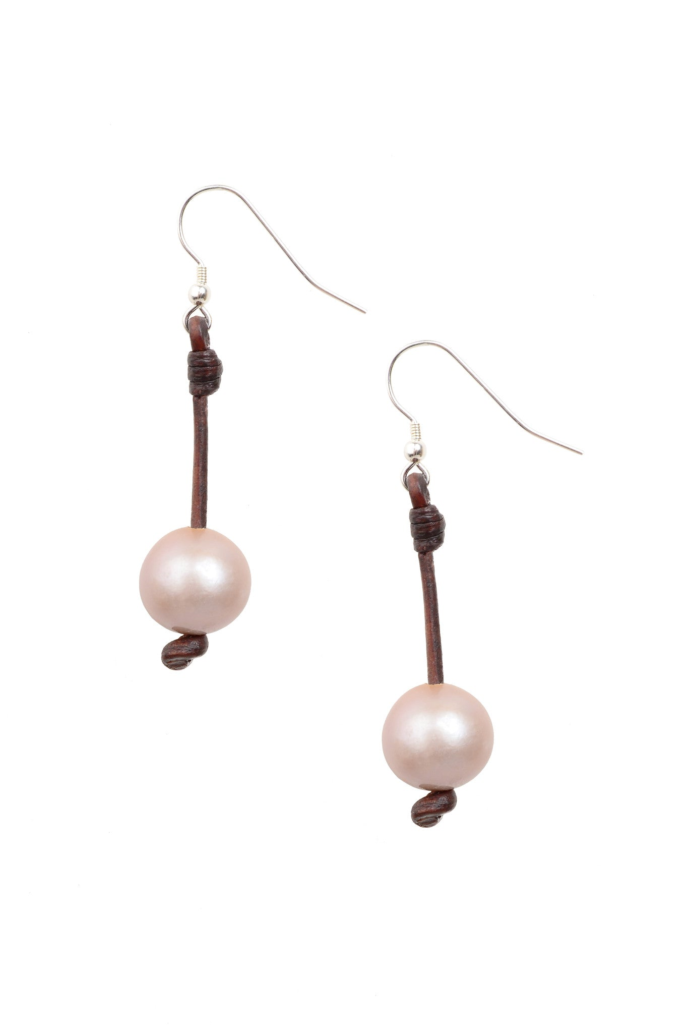 Pink Seaplicity Earrings - Hottest Designer Pearl and Leather Jewelry | VINCENT PEACH