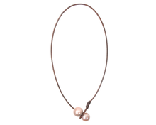 handcrafted leather and pink pearl necklace by Vincent Peach Fine Jewelry
