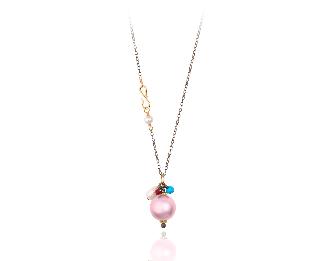Chain Royal Drop Necklace | Pink Freshwater