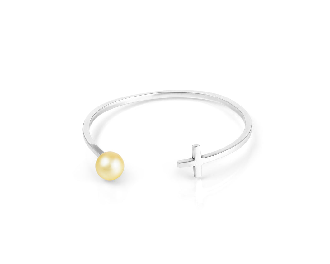 Gilded South Sea Pearl Cross Bangle - Last One!