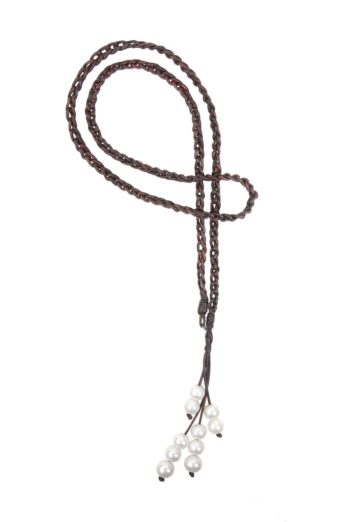 S Hook Lariat - Hottest Designer Pearl and Leather Jewelry | VINCENT PEACH  - 1