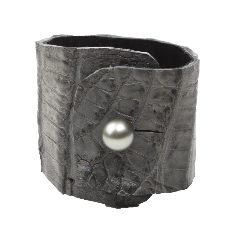Safari Croc Cuff, Blue-Grey - Hottest Designer Pearl and Leather Jewelry | VINCENT PEACH