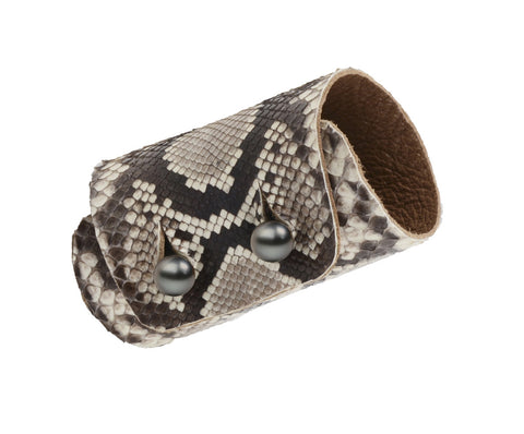 Safari Double Python Cuff - Hottest Designer Pearl and Leather Jewelry | VINCENT PEACH