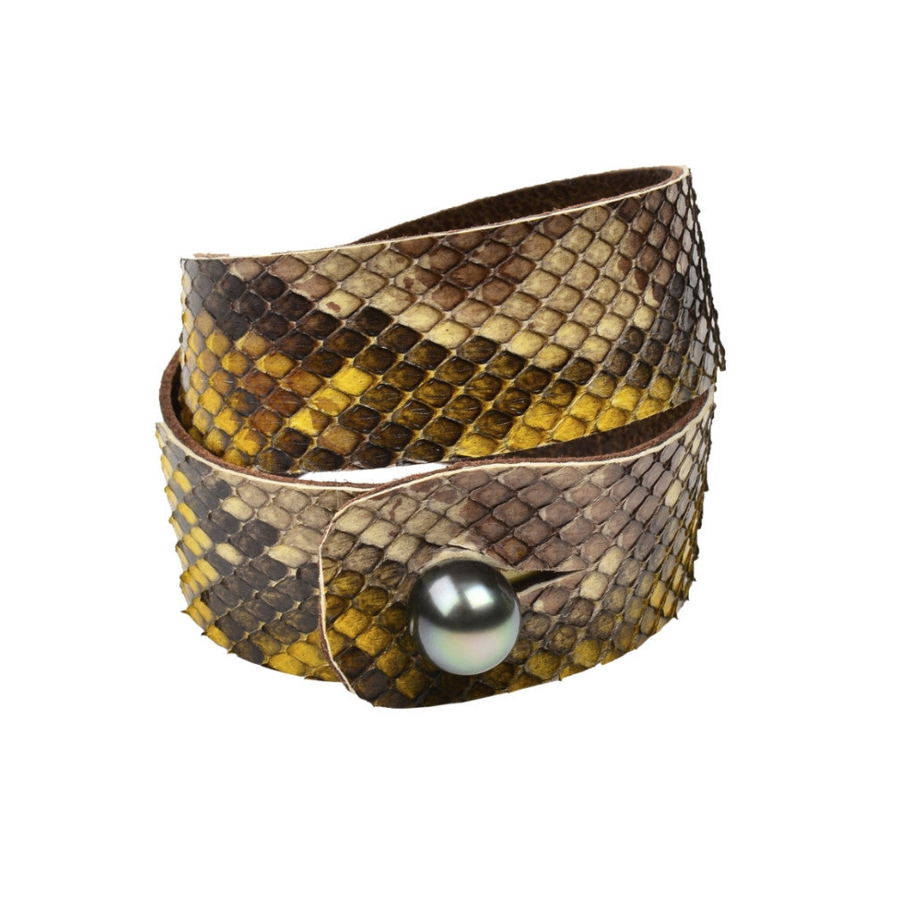 Safari Python Double Wrap - Hottest Designer Pearl and Leather Jewelry | VINCENT PEACH