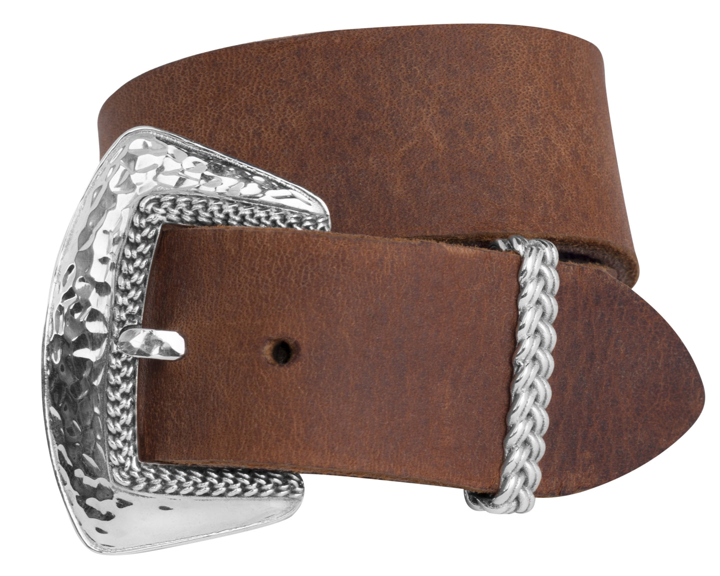 Hammered Sterling Silver buckle brown leather wrap bracelet or choker necklace