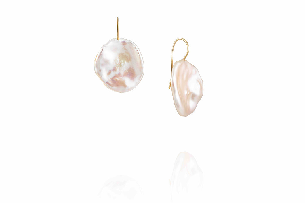 Coin Pearl Drop Earrings