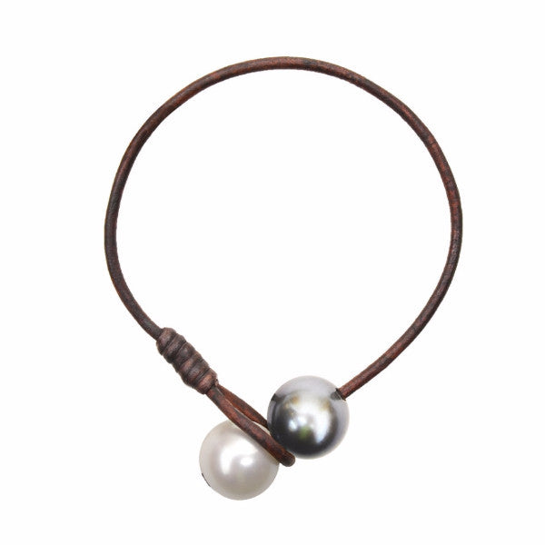 Seaplicity Bracelet, Freshwater and Tahitian - Hottest Designer Pearl and Leather Jewelry | VINCENT PEACH  - 1