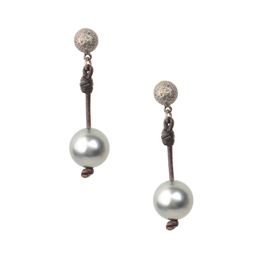 Signature Post Earrings, Tahitian - Hottest Designer Pearl and Leather Jewelry | VINCENT PEACH
