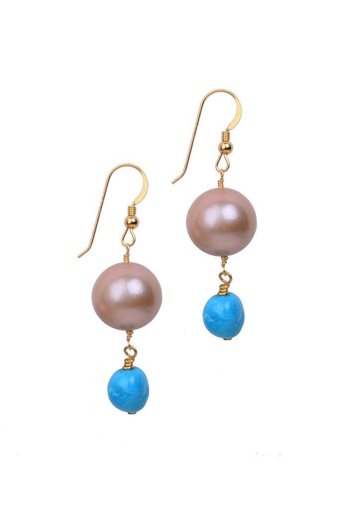 Demure Sleeping Beauty Earrings, Freshwater - Hottest Designer Pearl and Leather Jewelry | VINCENT PEACH  - 2