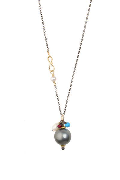 Small Royal Drop Necklace, Tahitian - Hottest Designer Pearl and Leather Jewelry | VINCENT PEACH  - 1