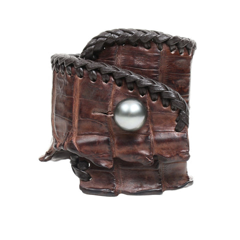 Spanish Croc Cuff - Hottest Designer Pearl and Leather Jewelry | VINCENT PEACH  - 1