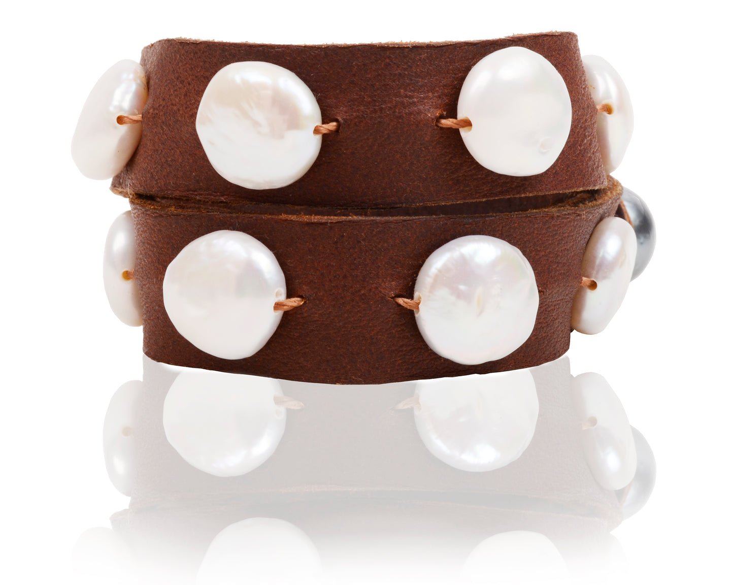Cown Pearl Brown Leather Wrap bracelet or Choker Necklace handmade by Vincent Peach Fine Jewelry