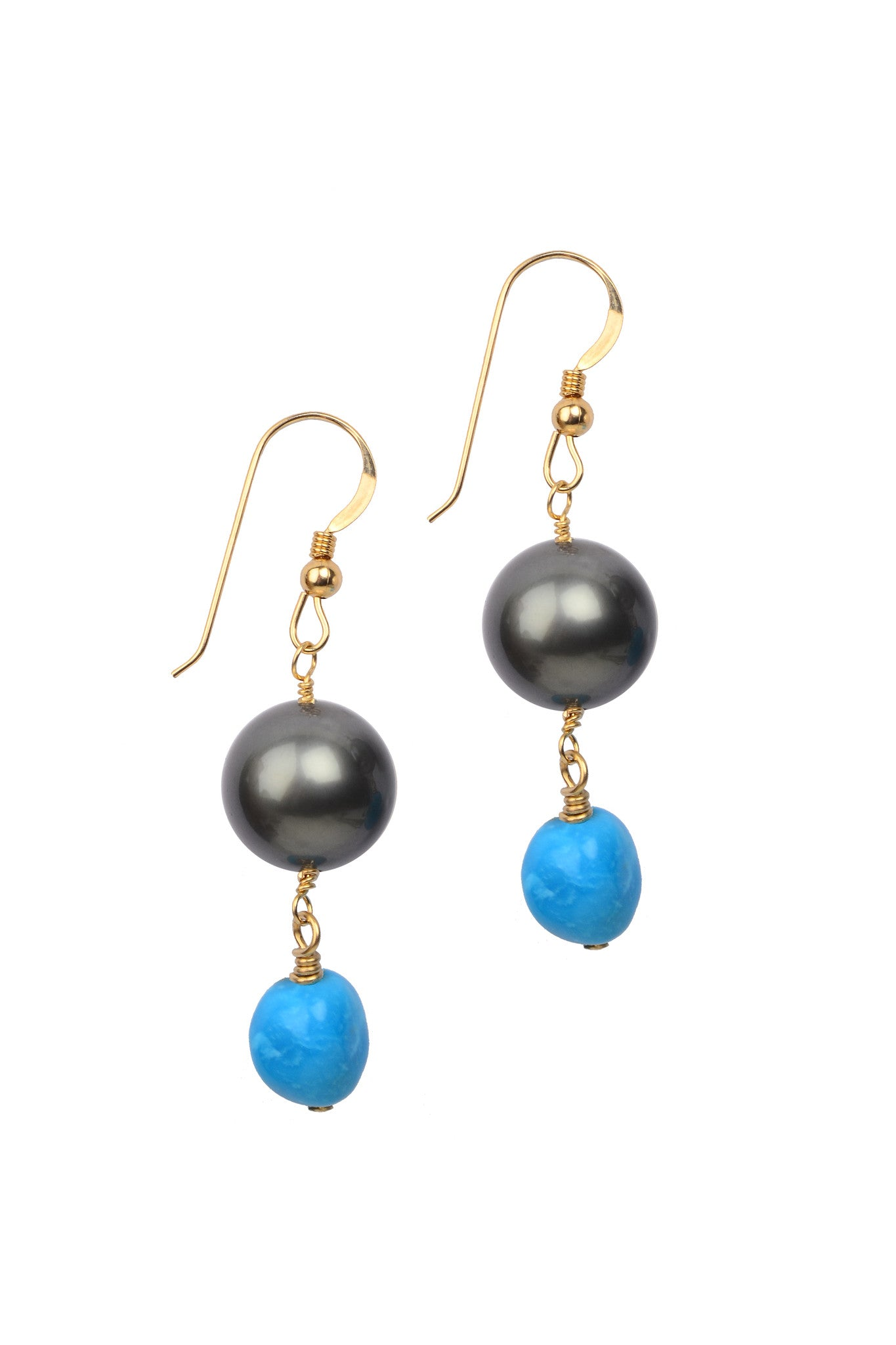 Demure Sleeping Beauty Earrings, Tahitian - Hottest Designer Pearl and Leather Jewelry | VINCENT PEACH