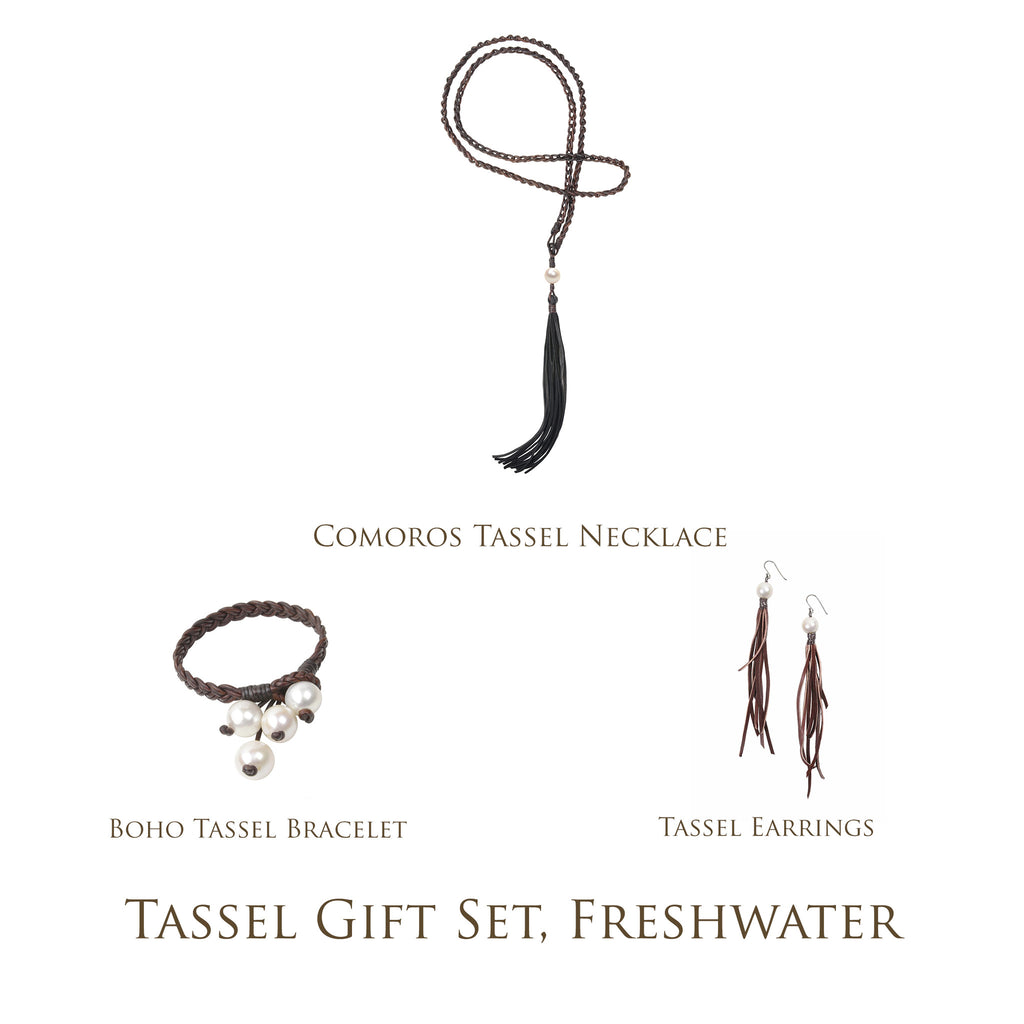 Tassel Gift Set, Freshwater - Hottest Designer Pearl and Leather Jewelry | VINCENT PEACH