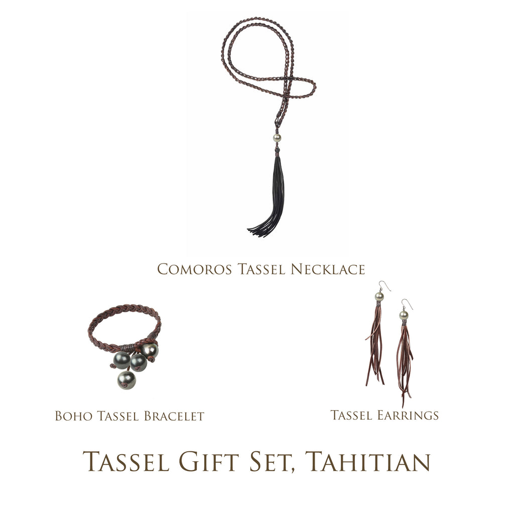 Tassel Gift Set, Tahitian - Hottest Designer Pearl and Leather Jewelry | VINCENT PEACH