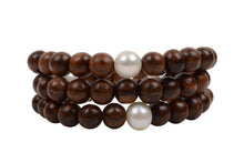 Triple Wrap Wood Bracelet - Hottest Designer Pearl and Leather Jewelry | VINCENT PEACH  - 2