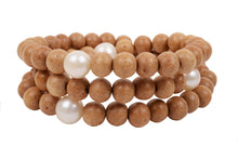Triple Wrap Wood Bracelet - Hottest Designer Pearl and Leather Jewelry | VINCENT PEACH  - 1
