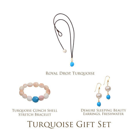 Turquoise Gift Set - Hottest Designer Pearl and Leather Jewelry | VINCENT PEACH