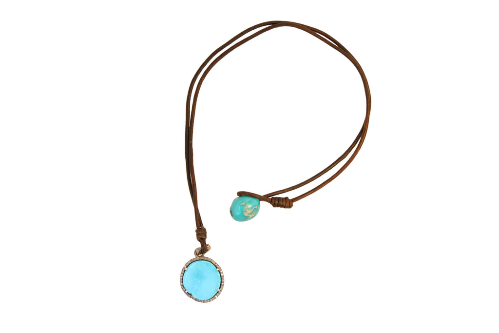 Turquoise Pendant Necklace - Hottest Designer Pearl and Leather Jewelry | VINCENT PEACH  - 2