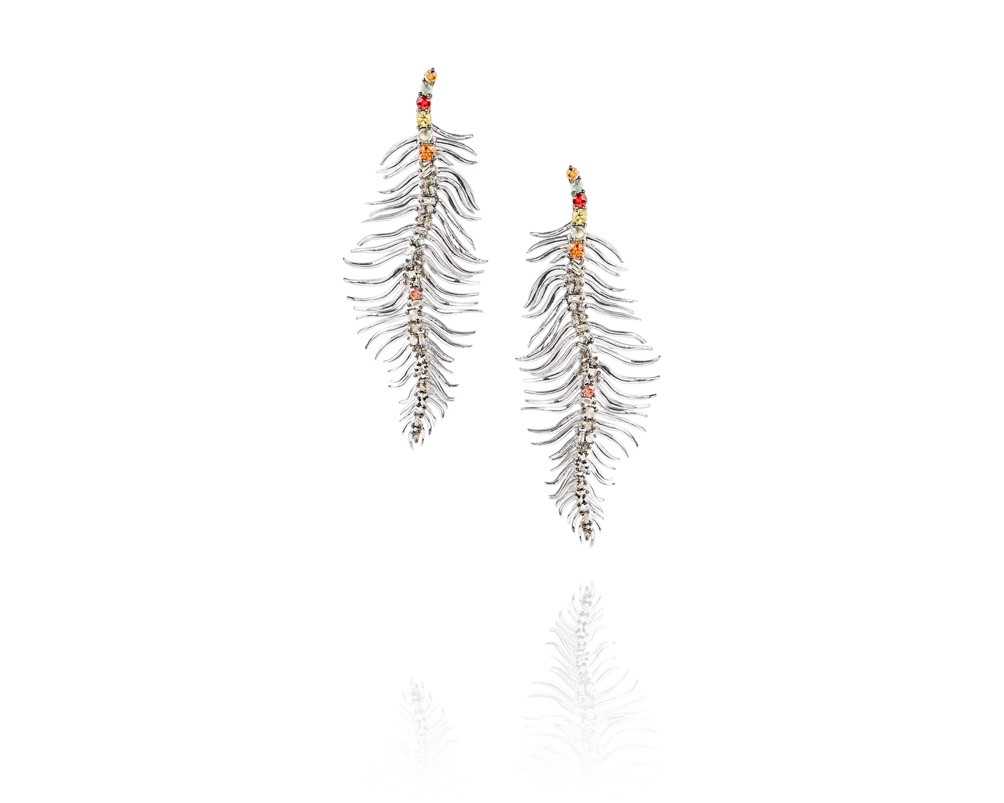 sterling silver, diamond feather earrings - D1008