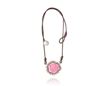 Tourmaline leather episodic diamond pearl amulet necklace - D1012
