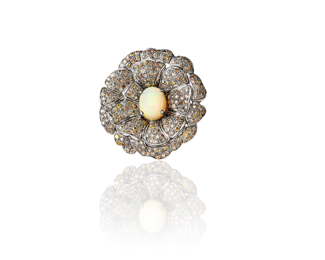 Episodic Diamond and opal Flor Ring - OOK106