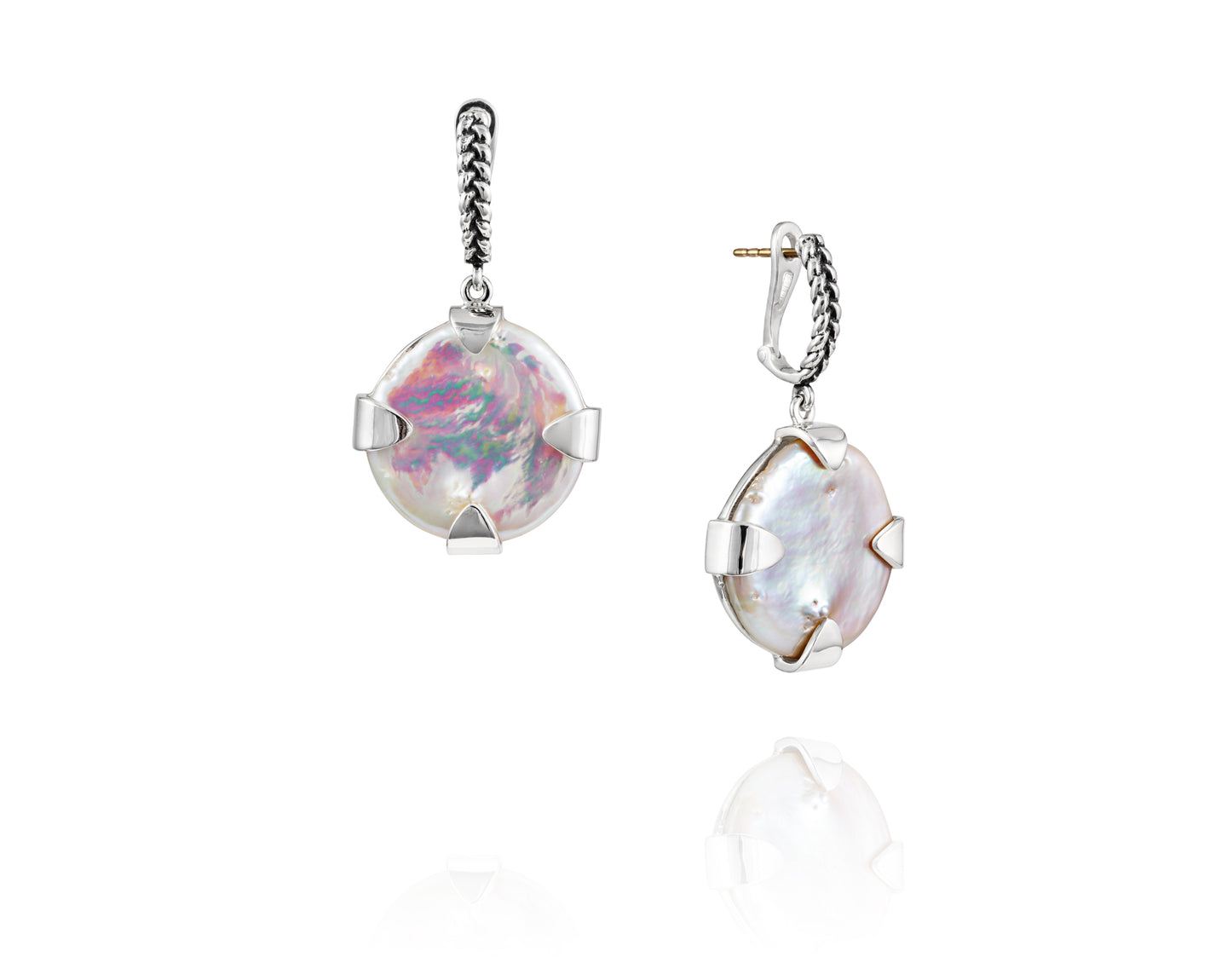 Signature Coin Pearl Drop Earrings